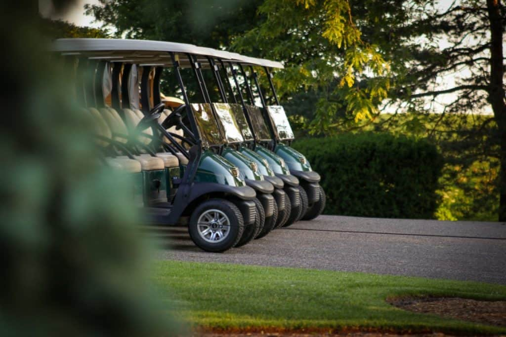 Golf Buggys Parked In A Line