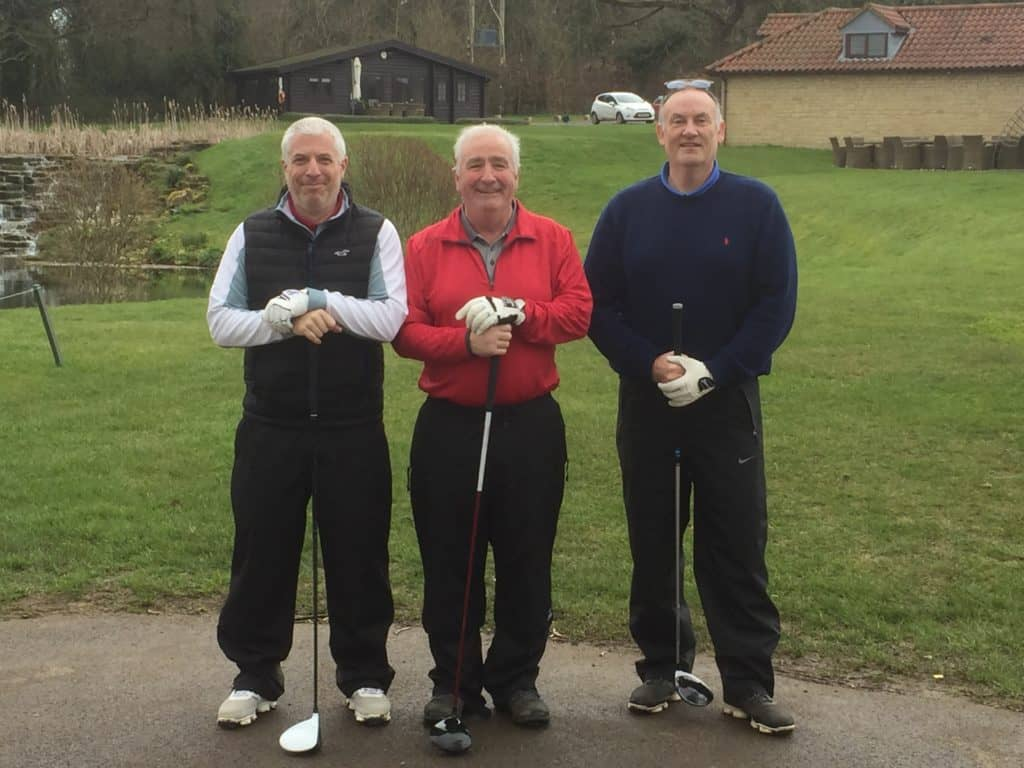 Chris Jeffcutt, Roger Chequer & Mark Mumford tee up on the Fore King Golf Tour