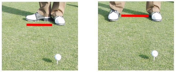 the width of your stance can come from using this general rule of thumb where the distance between your heels is the length of your foot.