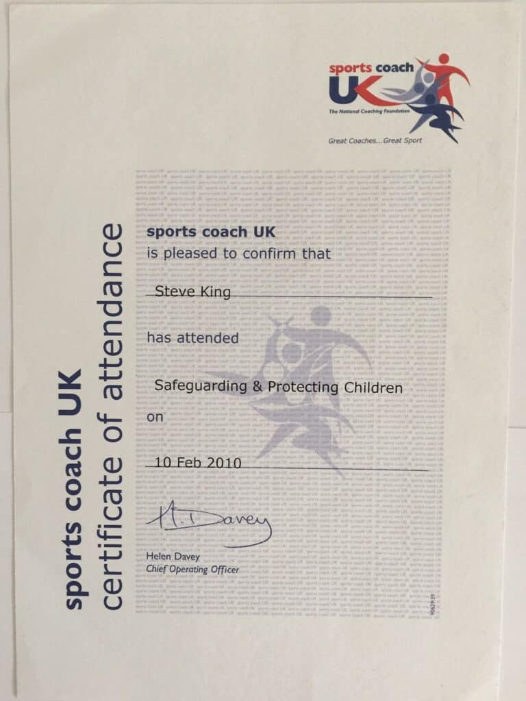 Steve King's Certificate For Attending The Safeguarding Children Course PGA Level 1 Requirement