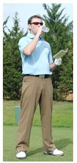 PGA Pro Richard Lawless drinking water from a bottle