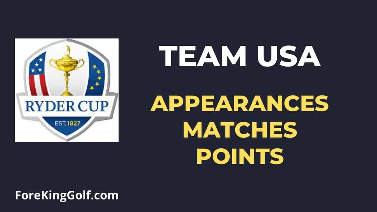 Ryder Cup USA Appearances, Matches & Points